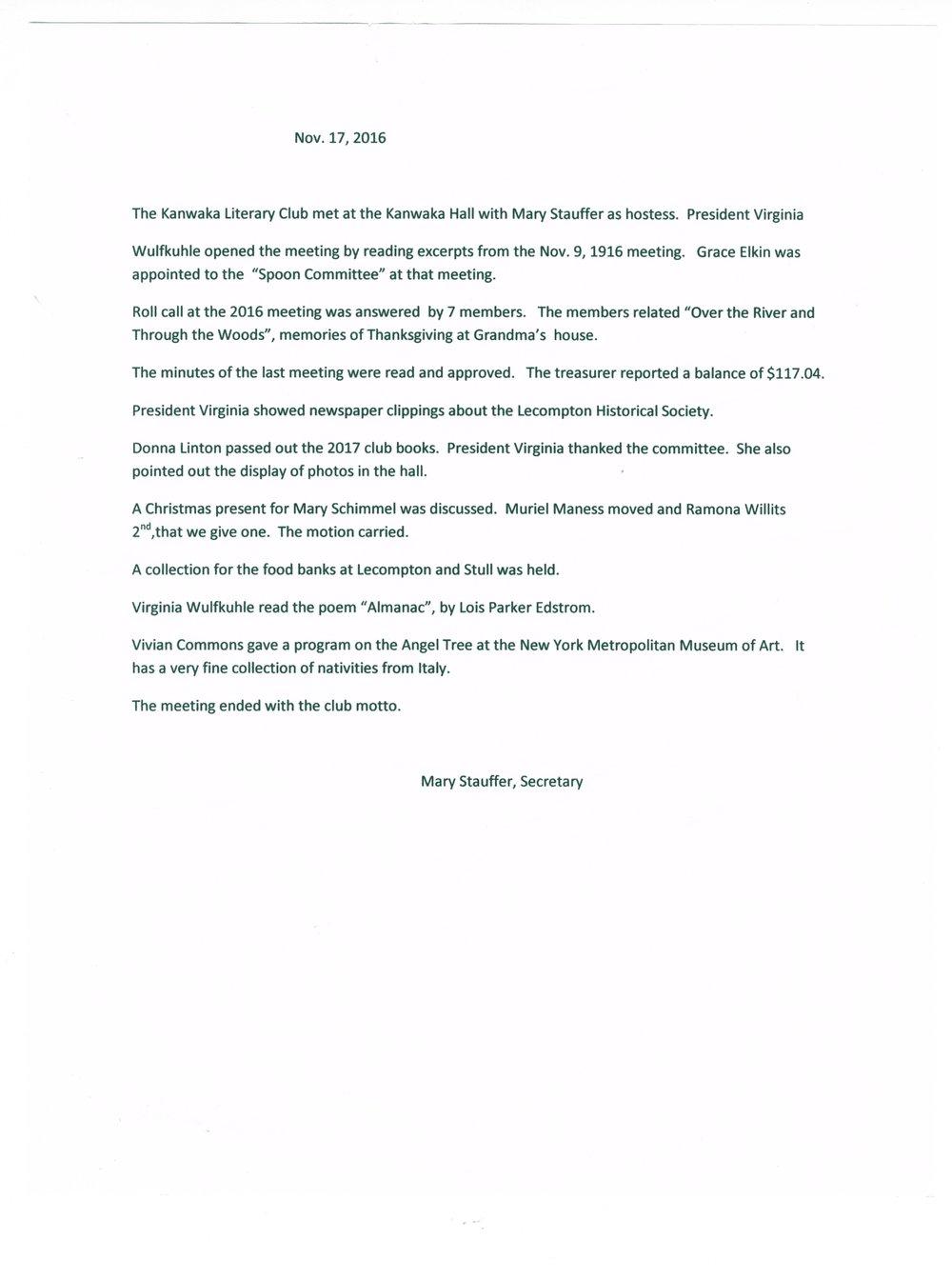 Kanwaka Literary Club records - Nov 17, 20167