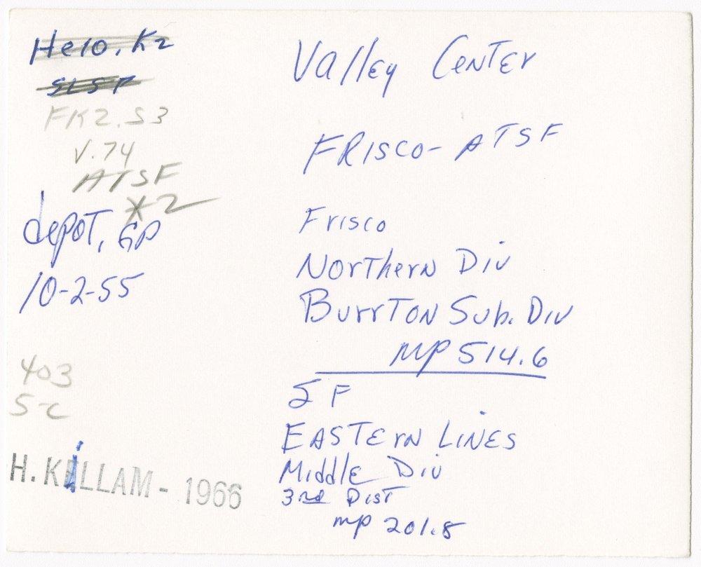 Atchison, Topeka and Santa Fe Railway Company and the St. Louis-San Francisco Railway Company depot, Valley Center, Kanas - 2
