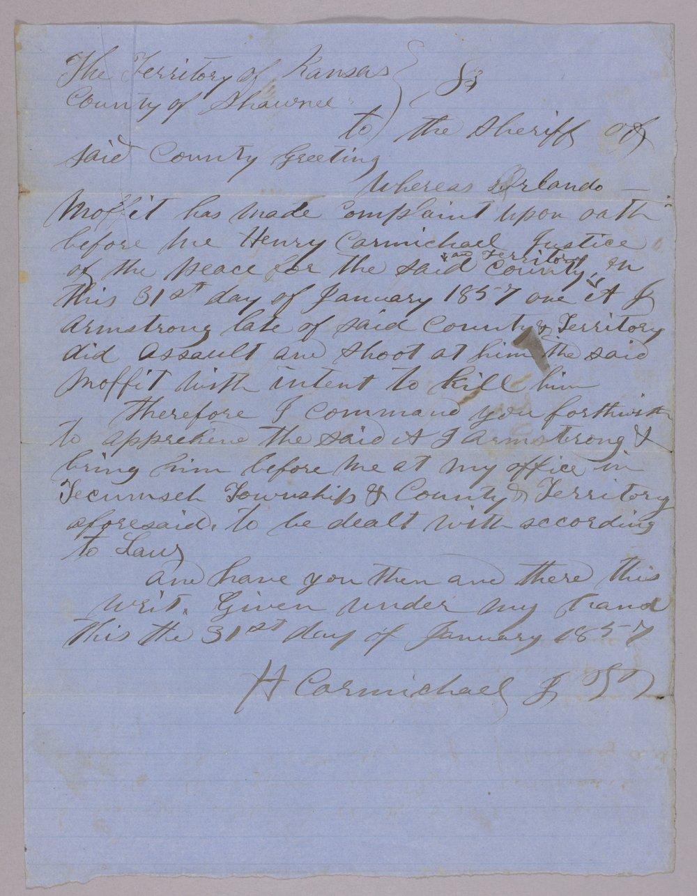 Kansas Territory versus A. J. Armstrong for assault on Orlando Moffitt - 1