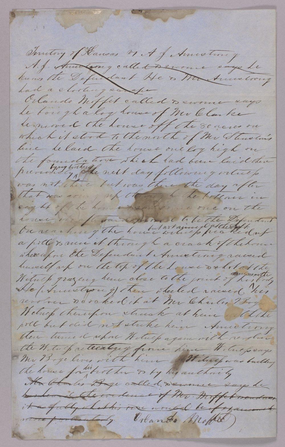 Kansas Territory versus A. J. Armstrong for assault on Orlando Moffitt - 3