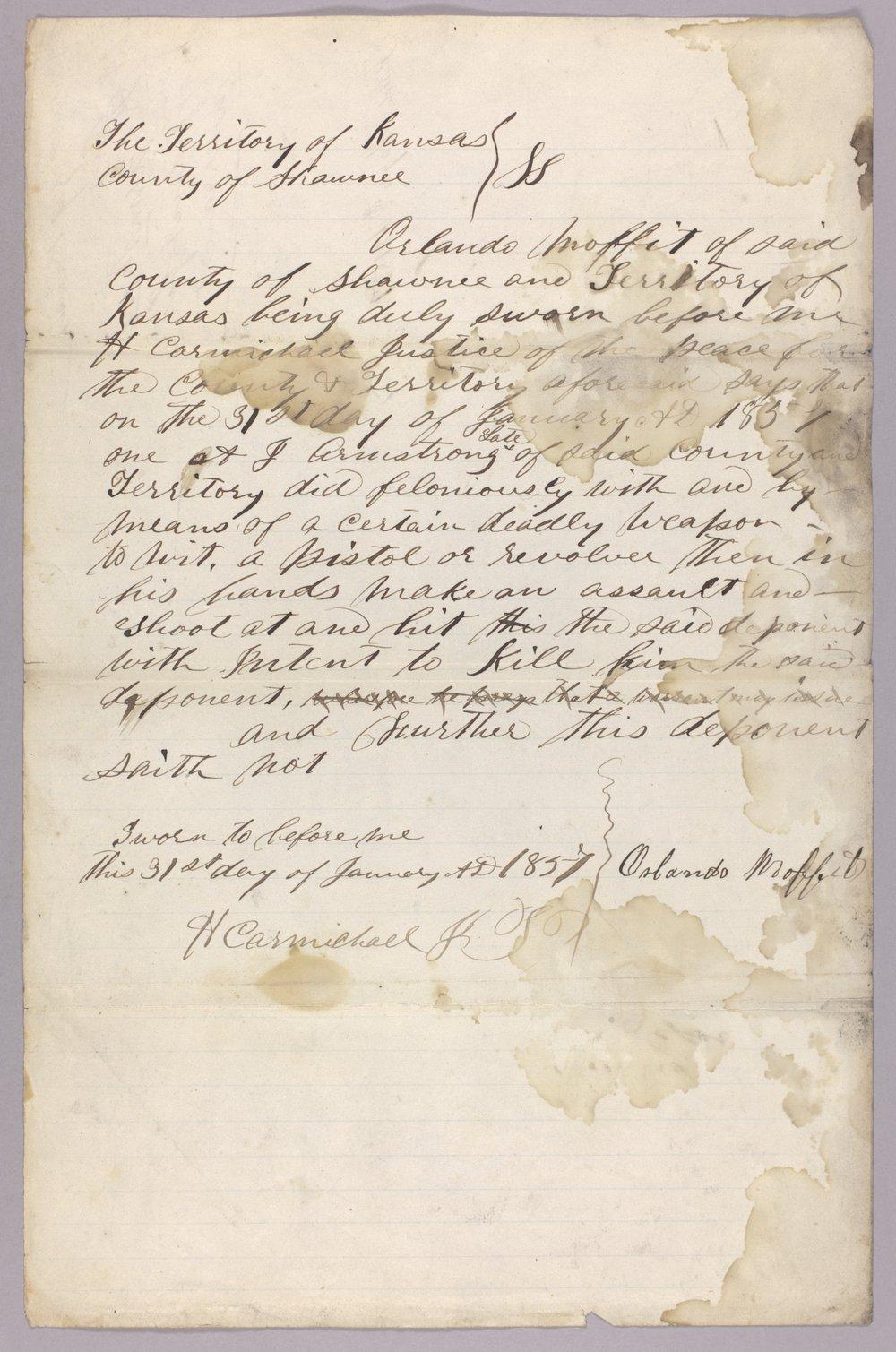 Kansas Territory versus A. J. Armstrong for assault on Orlando Moffitt - 7
