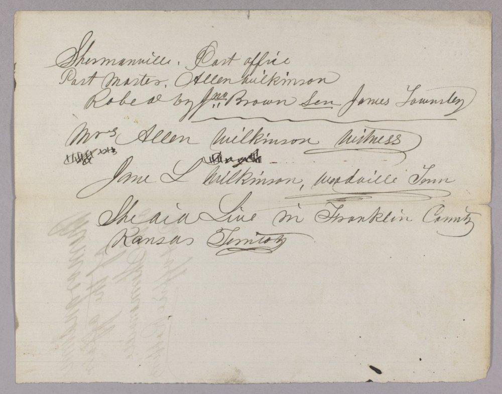 Kansas Territory versus John Brown Sr., Frederick Brown, Oliver Brown, Owen Brown, and Solomon Brown for murder - 1