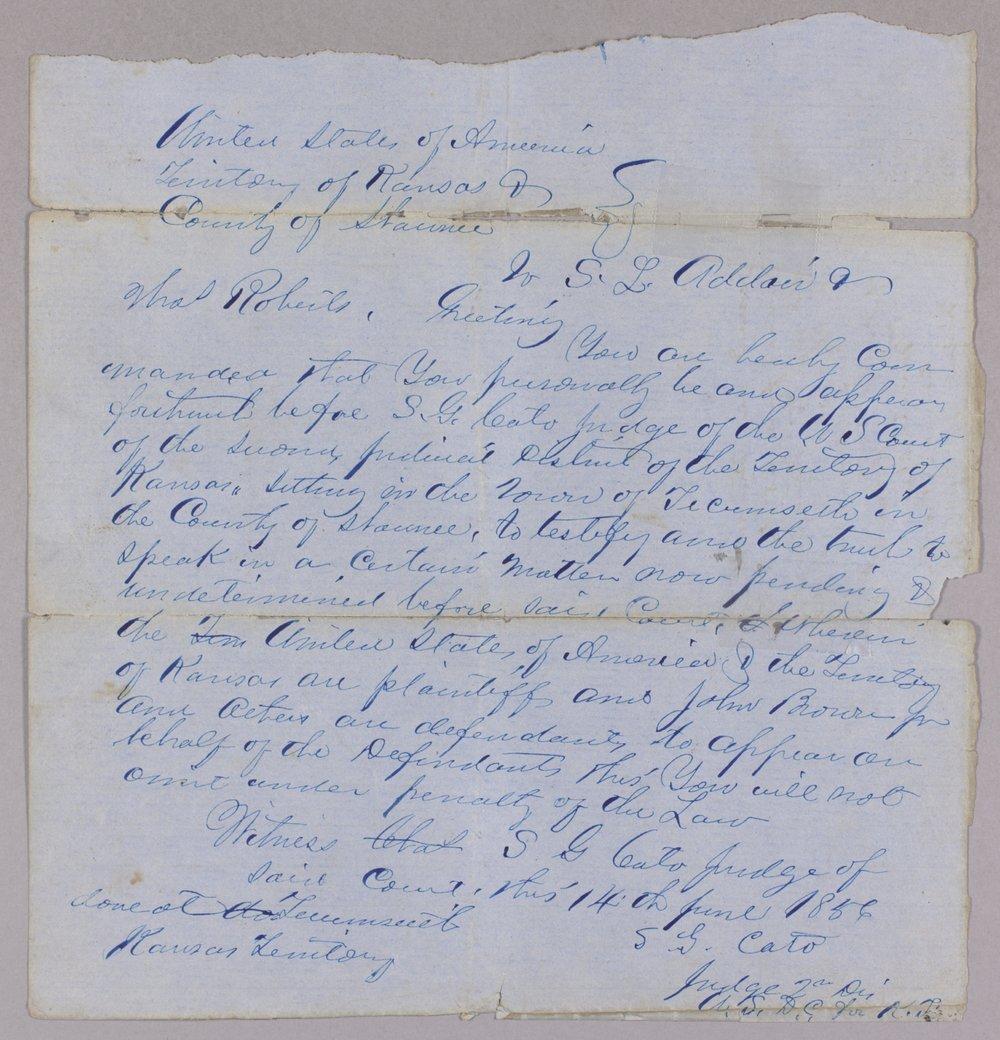 Kansas Territory versus John Brown Sr., Frederick Brown, Oliver Brown, Owen Brown, and Solomon Brown for murder - 3