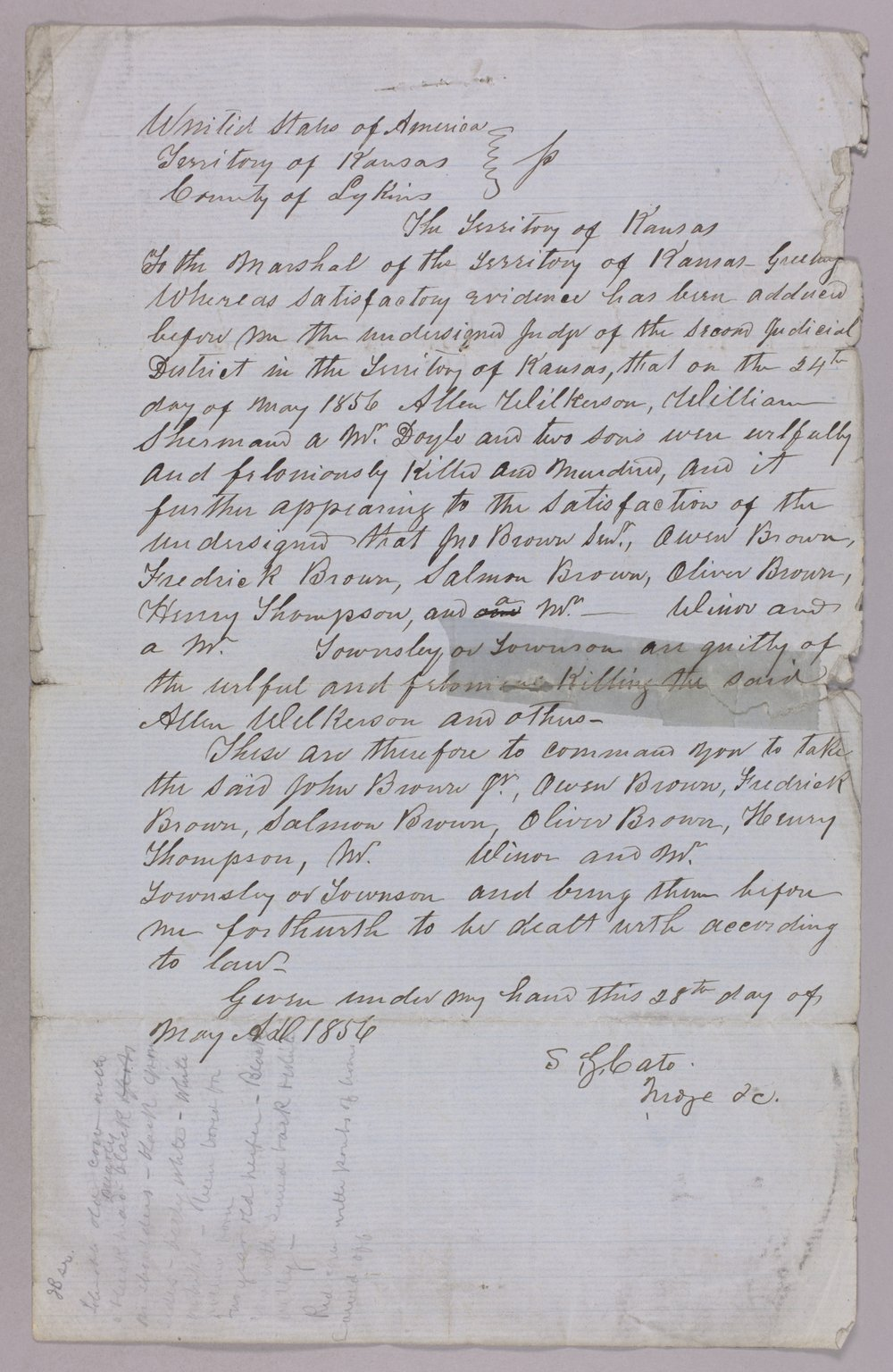 Kansas Territory versus John Brown Sr., Frederick Brown, Oliver Brown, Owen Brown, and Solomon Brown for murder - 5