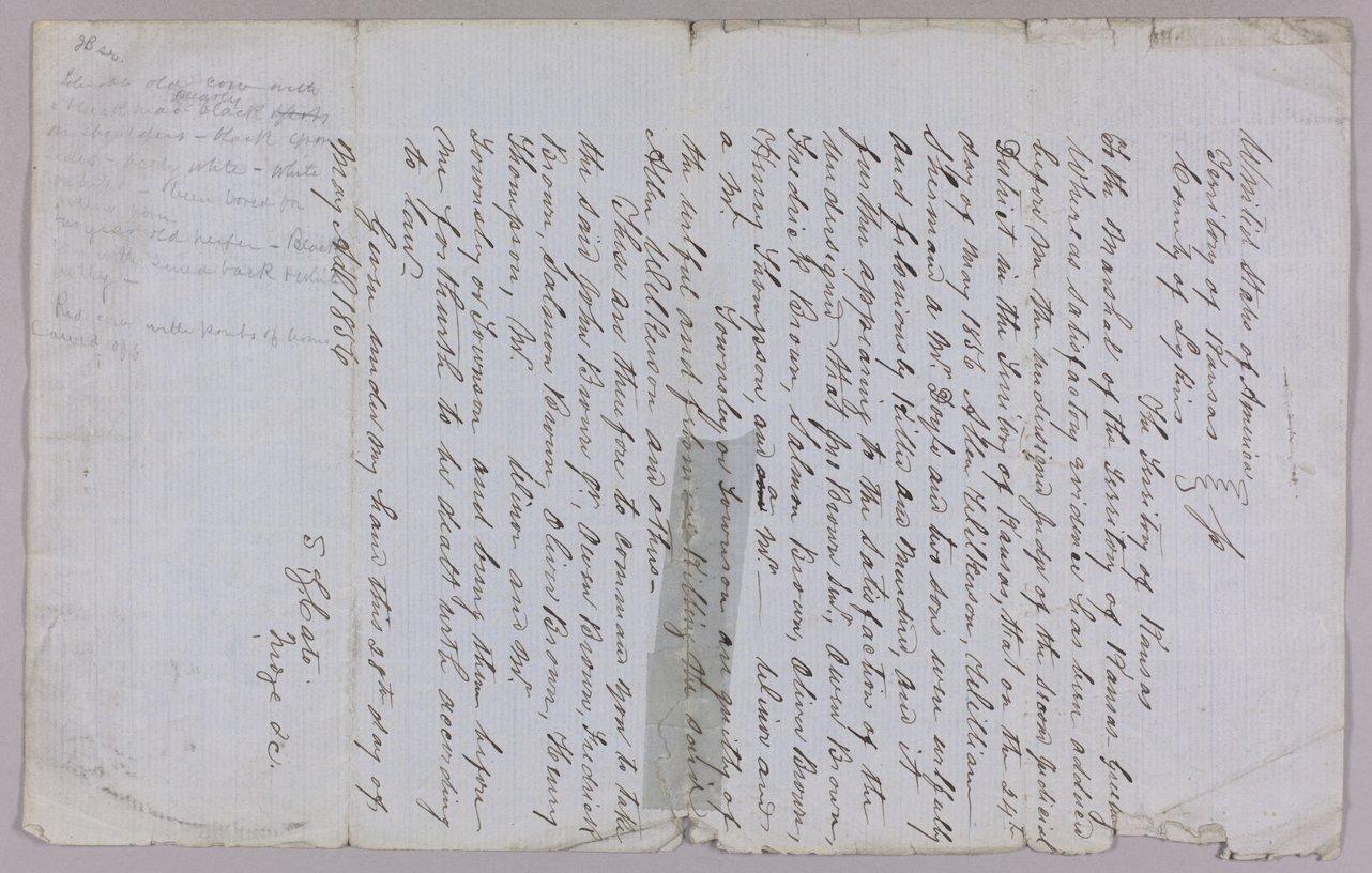 Kansas Territory versus John Brown Sr., Frederick Brown, Oliver Brown, Owen Brown, and Solomon Brown for murder - 6