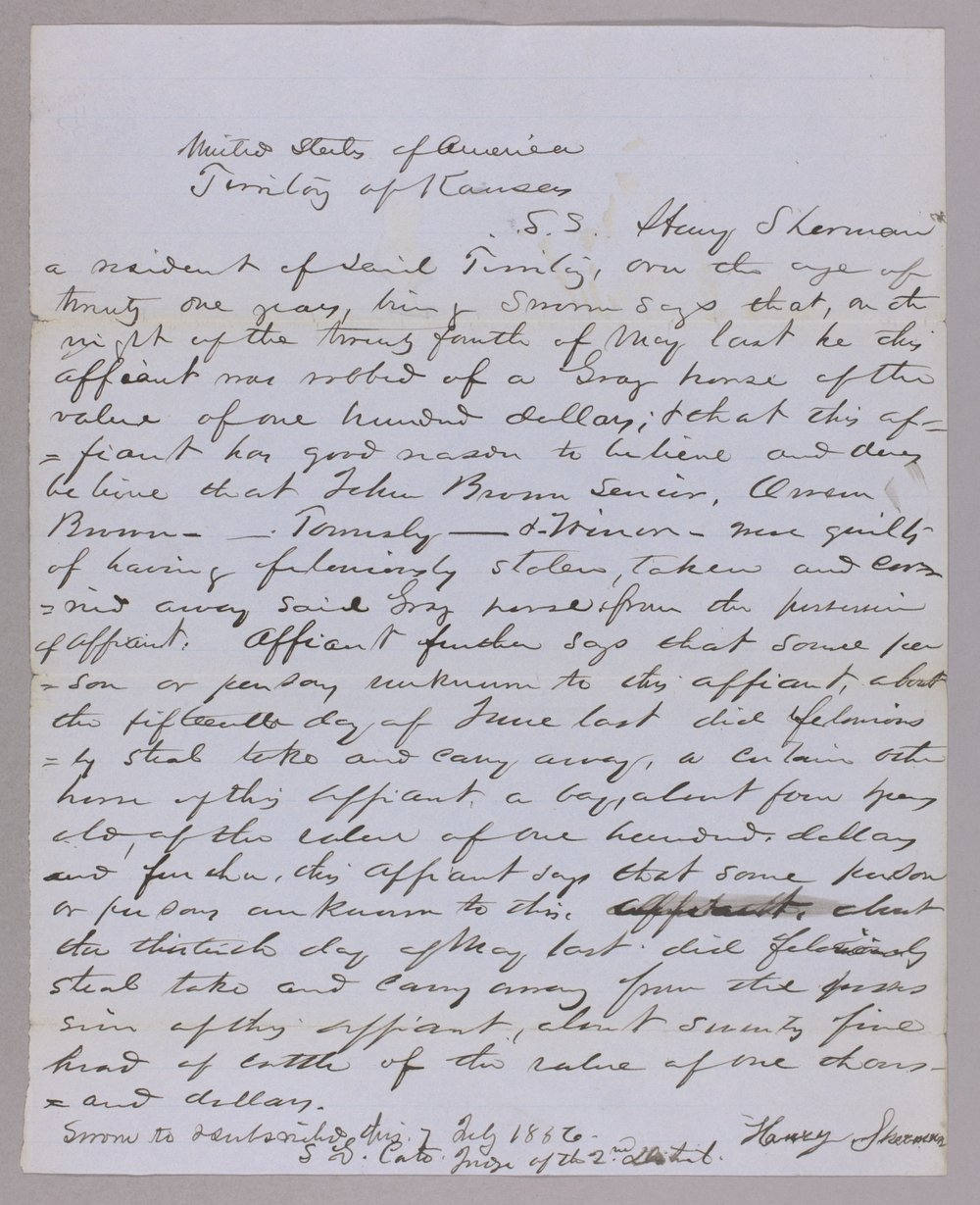 Kansas Territory versus John Brown and others for horse stealing - 4