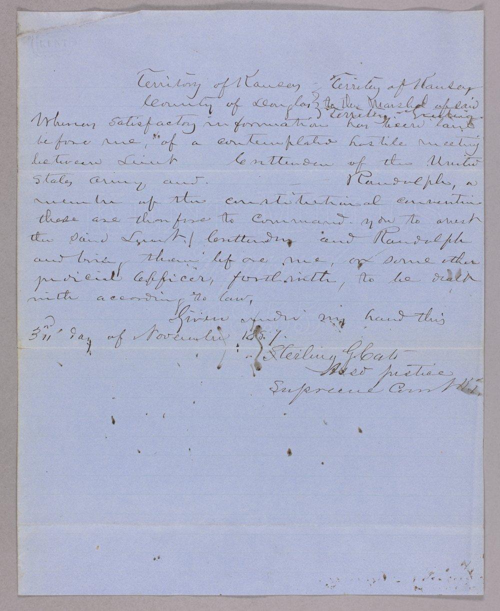 Kansas Territory versus Lieutenant Crittenden and JW Randolph