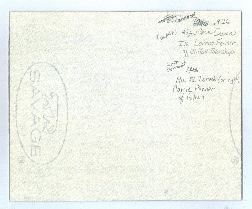 1926 Kaffir Corn queen and her court, Kaffir Corn Carnival, El Dorado, Butler County, Kansas - back