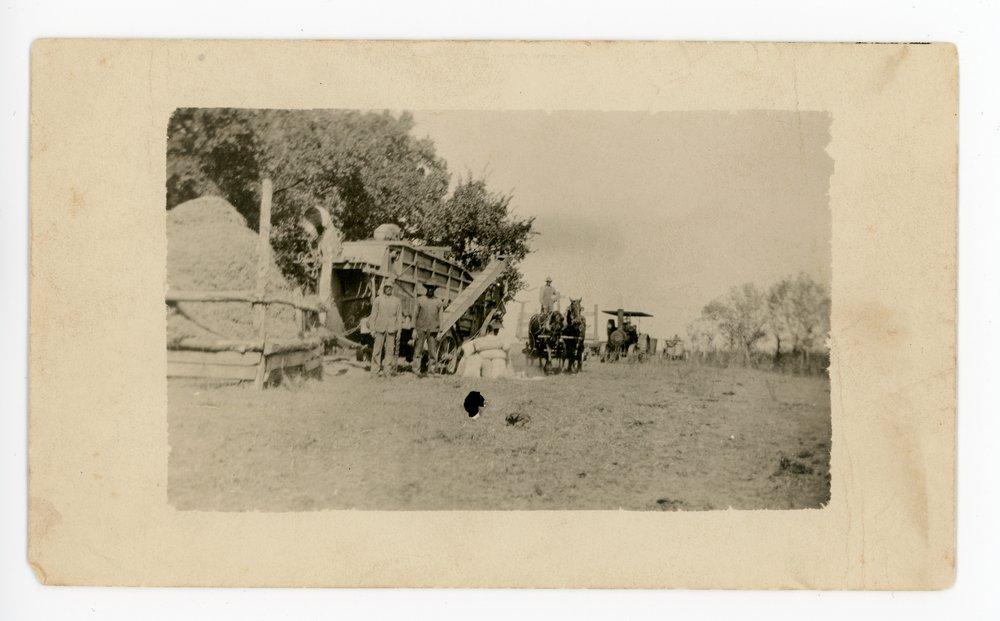 C.R. Osborn threshing machine and crew, Butler County, Kansas - front