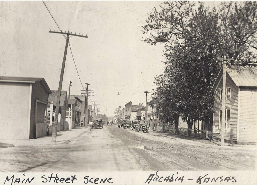 Arcadia mining camp, Crawford County, Kansas - Main Street Scene, Arcadia, KS