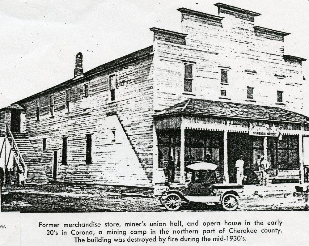 Carona mining camp, Cherokee County, Kansas - Union Hall