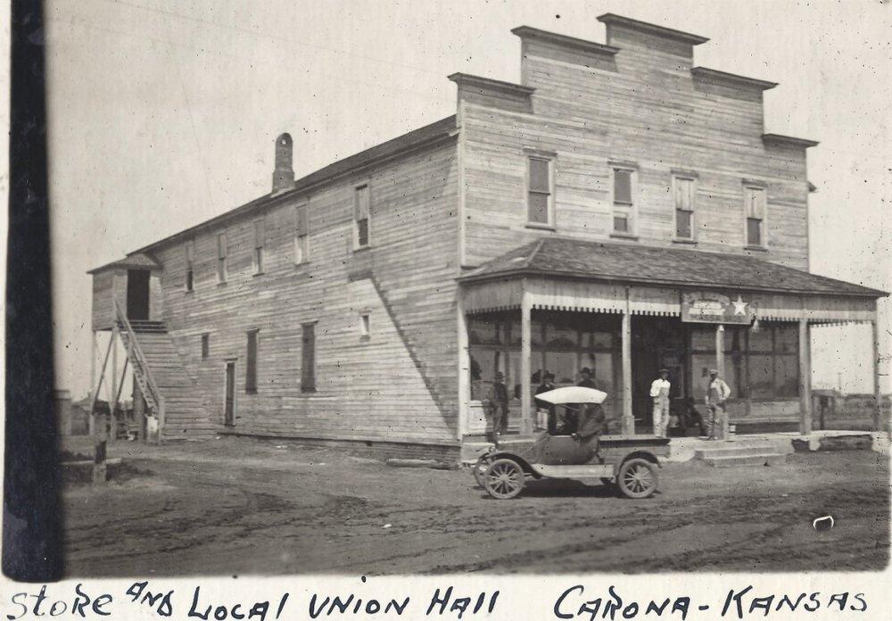 Carona mining camp, Cherokee County, Kansas - Store and Union Hall, Carona, KS