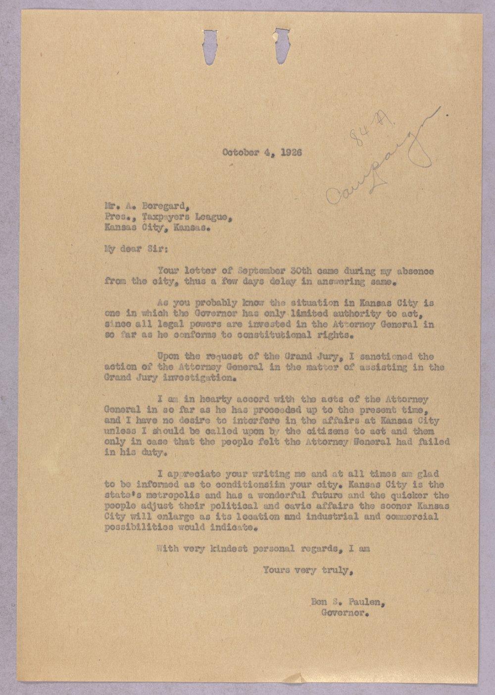 Governor Ben Paulen campaign correspondence - 3