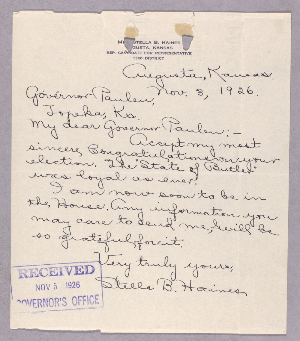 Governor Ben Paulen campaign correspondence - 9