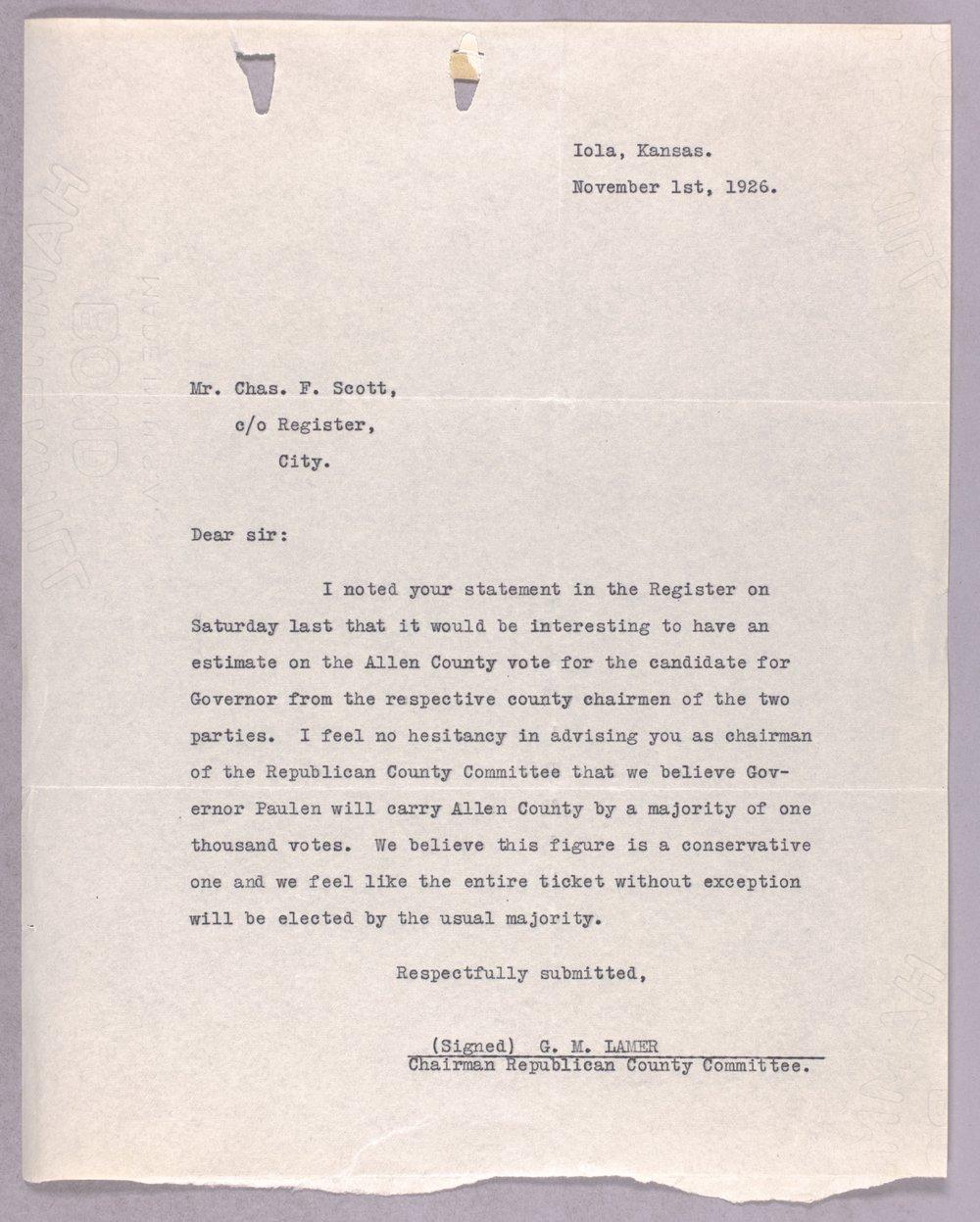 Governor Ben Paulen campaign correspondence - 11