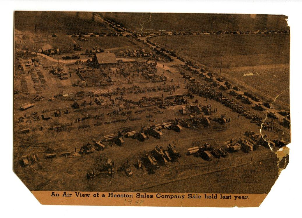 Aerial view of Hesston Sales Company, Hesston, Kansas - front
