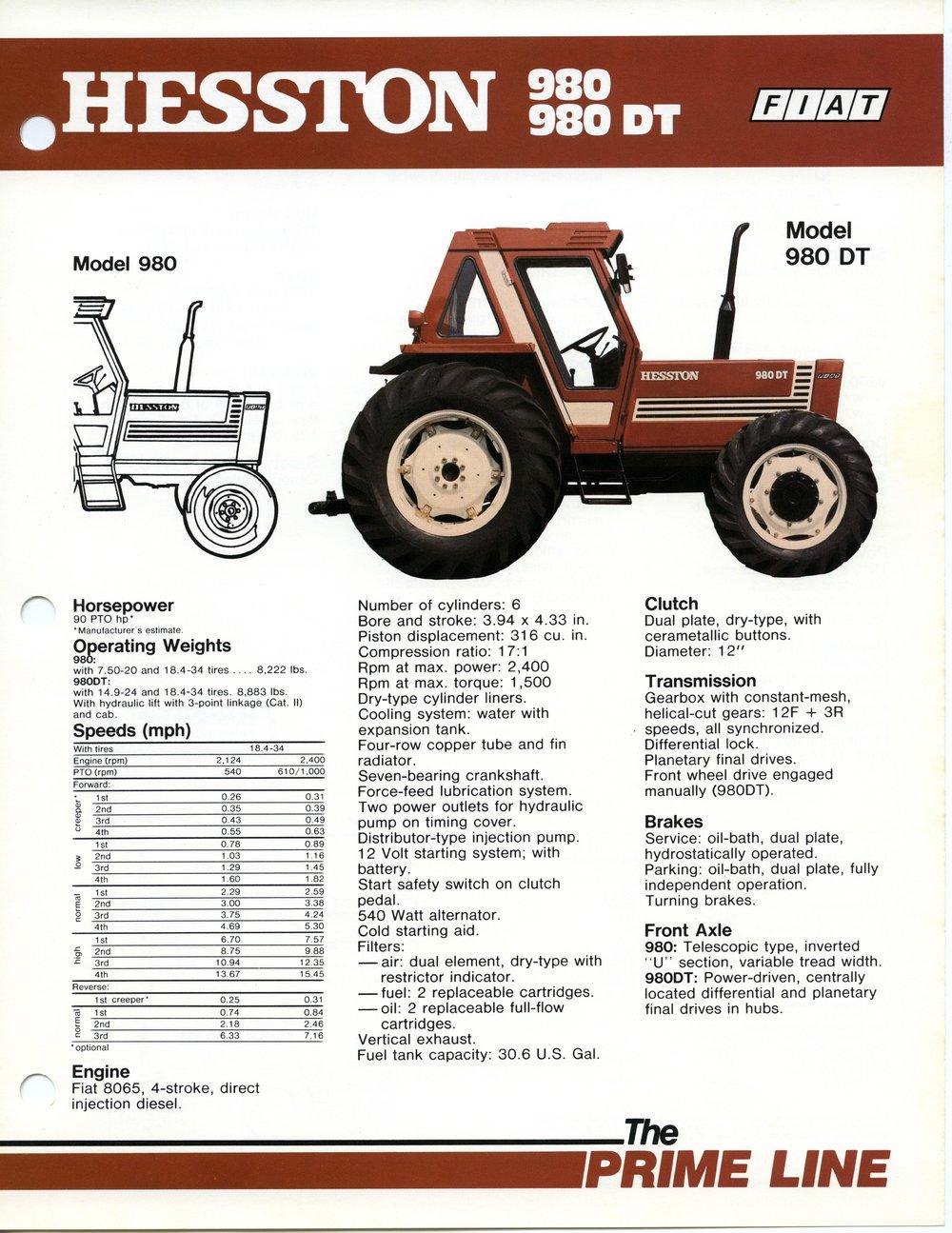 Prime Line Hesston Model 980, 980DT FIAT equipment flyer, Hesston, Kansas