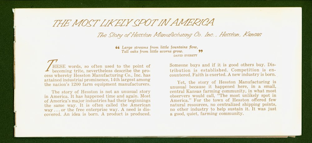 Hesston Manufacturing Company booklet - p1