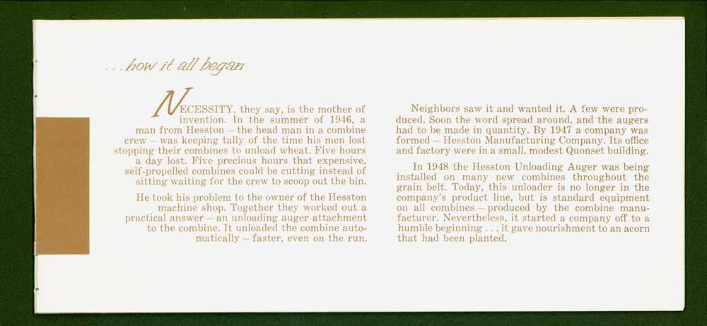 Hesston Manufacturing Company booklet - p3