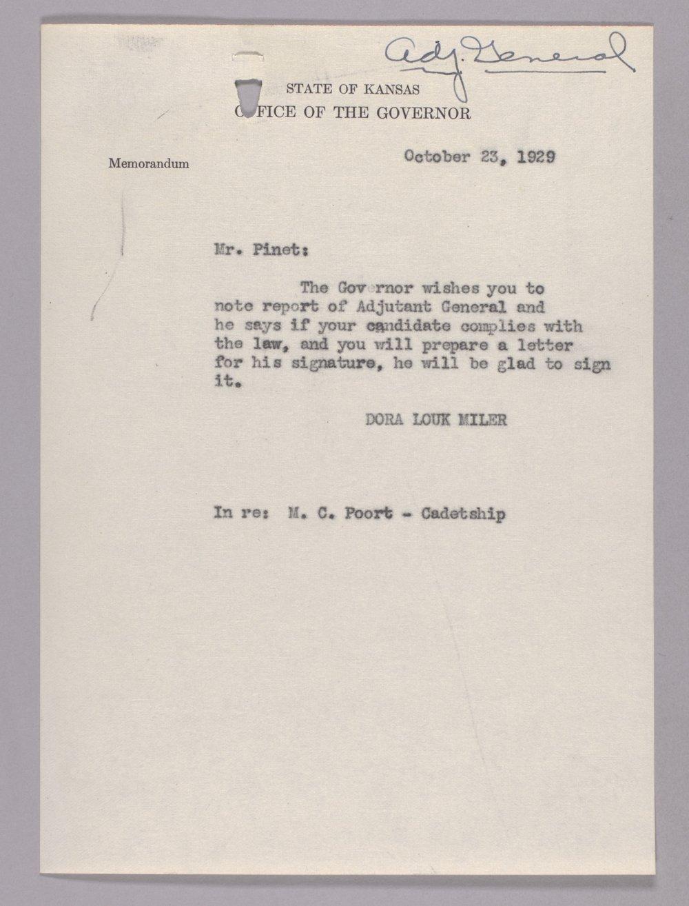 Governor Clyde M. Reed correspondence, Adjutant General - 1