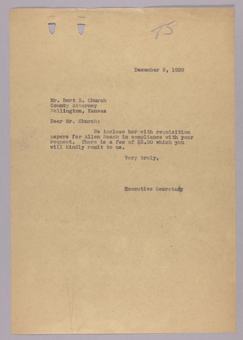 Governor Clyde M. Reed correspondence, Adjutant General - 8
