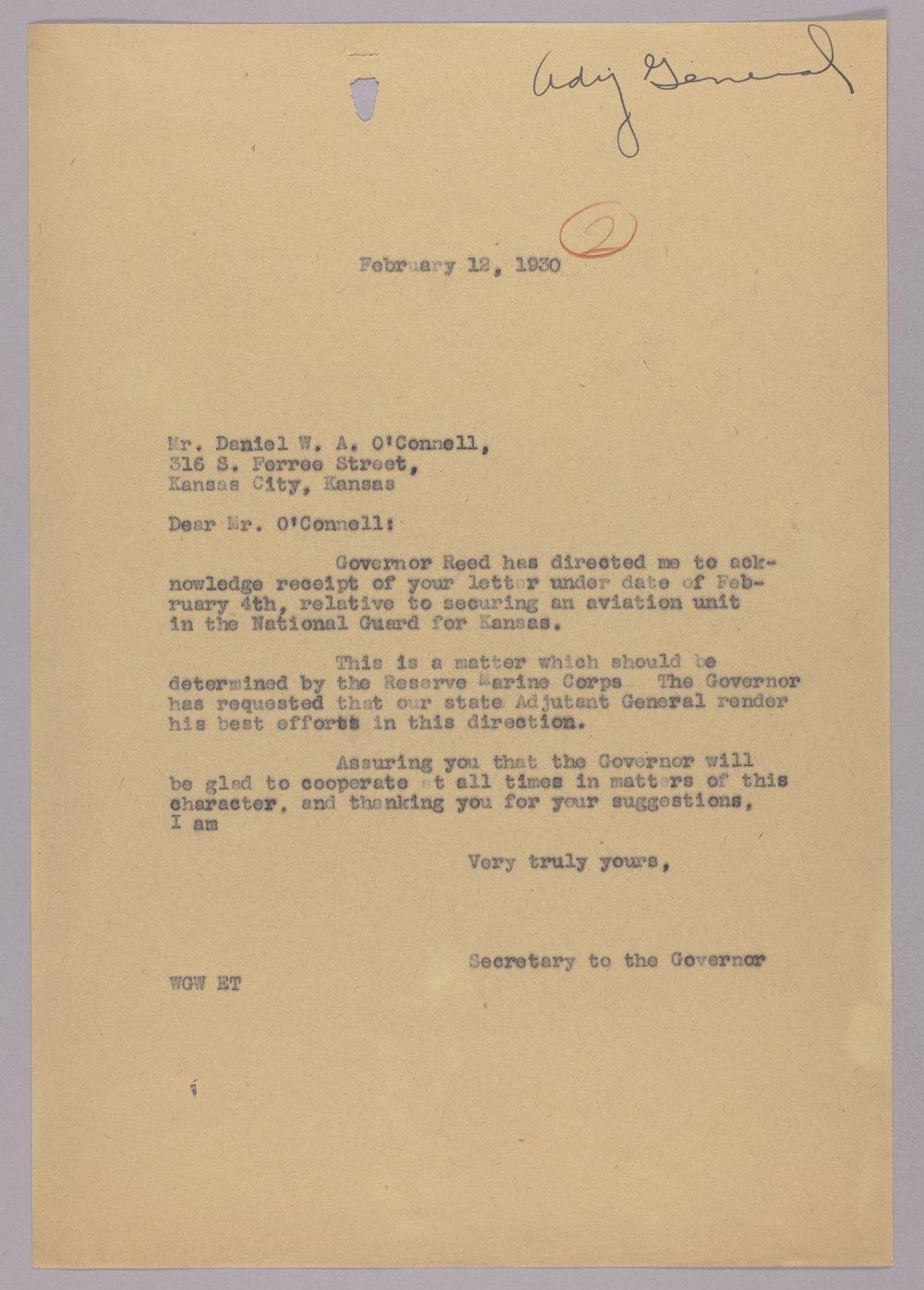 Governor Clyde M. Reed correspondence, Adjutant General - 2