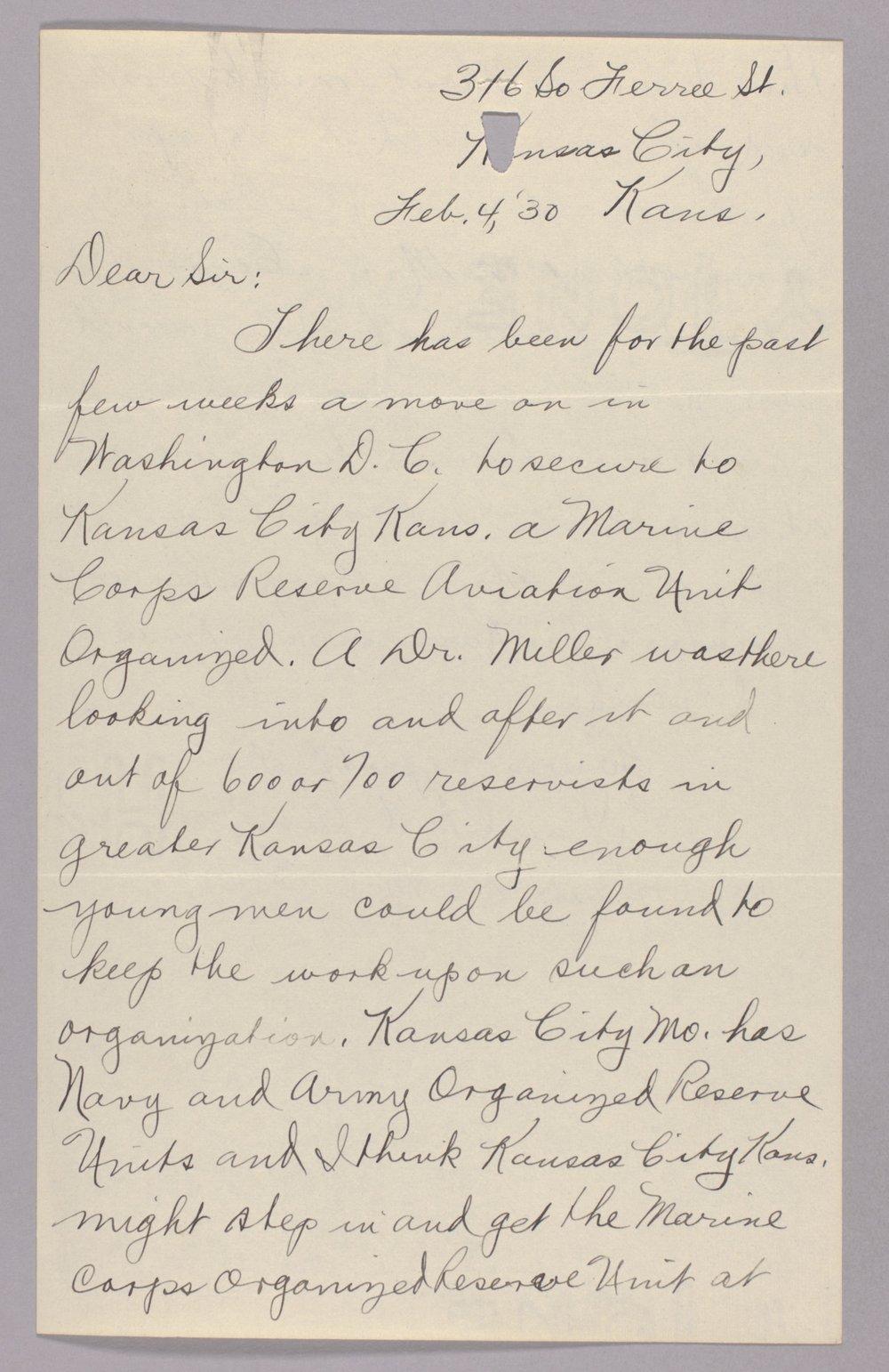 Governor Clyde M. Reed correspondence, Adjutant General - 3