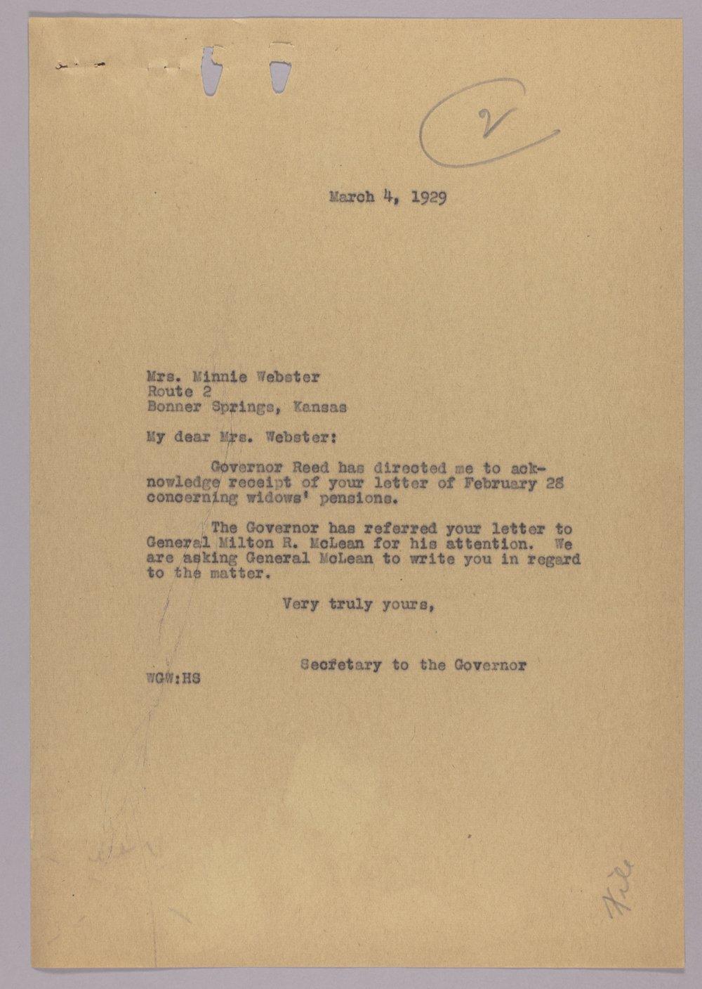Governor Clyde M. Reed correspondence, Adjutant General - 5