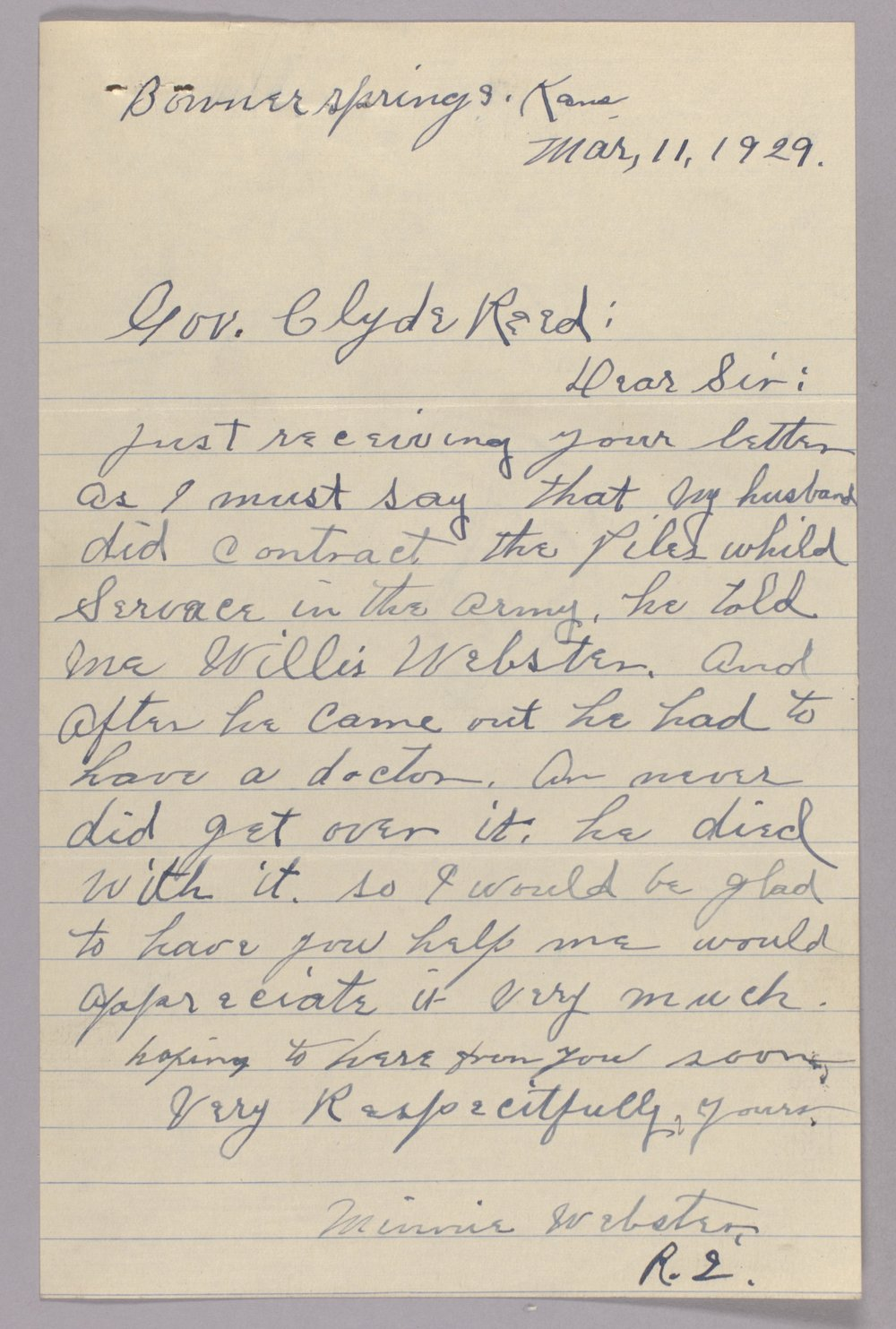 Governor Clyde M. Reed correspondence, Adjutant General - 7