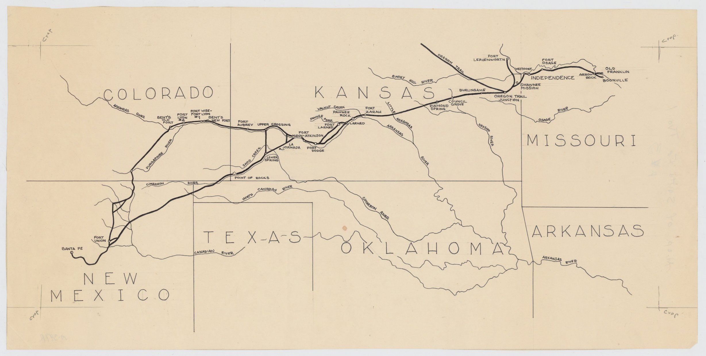 Map of the Santa Fe Trail - Kansas Memory - Kansas ...
