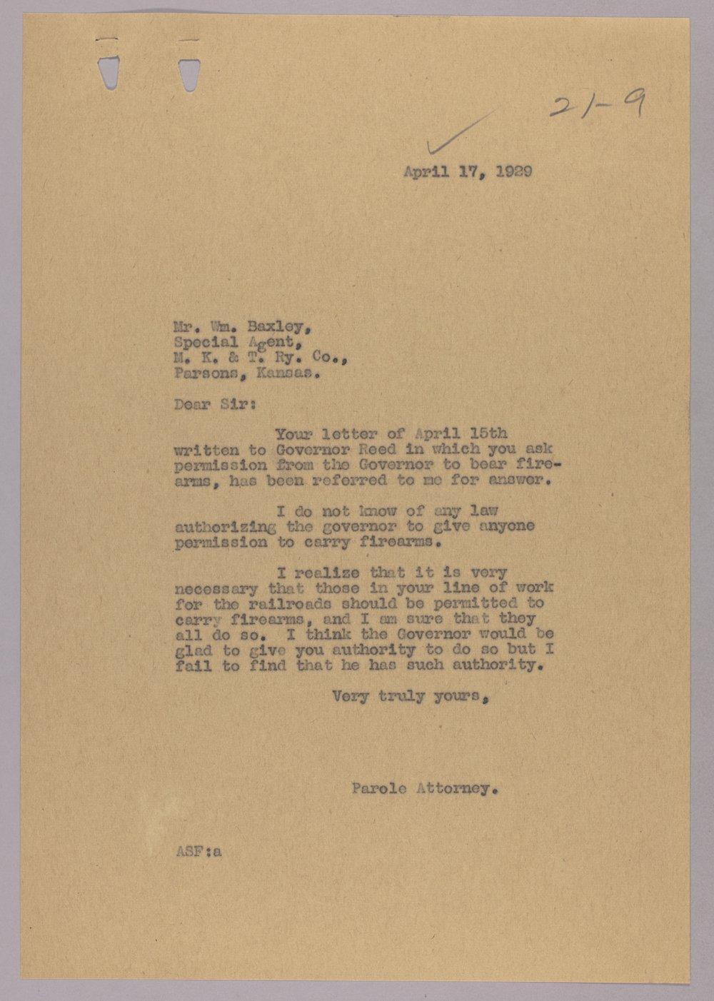Governor Clyde M  Reed correspondence, firearms - Kansas Memory