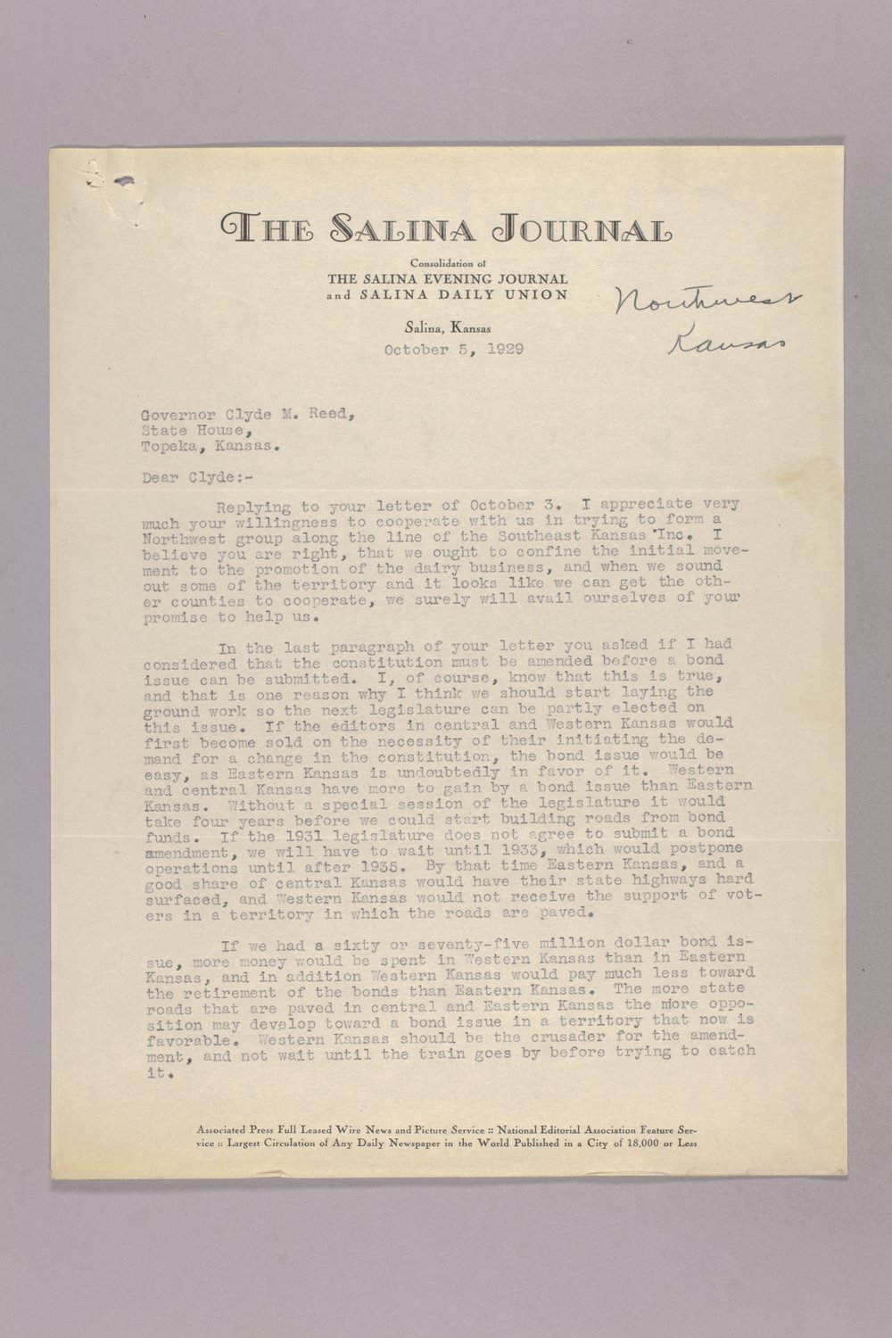 Governor Clyde M. Reed correspondence, diary - 2