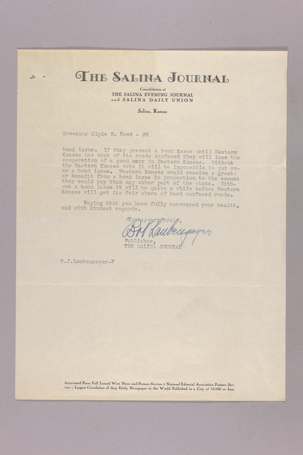 Governor Clyde M. Reed correspondence, diary - 10