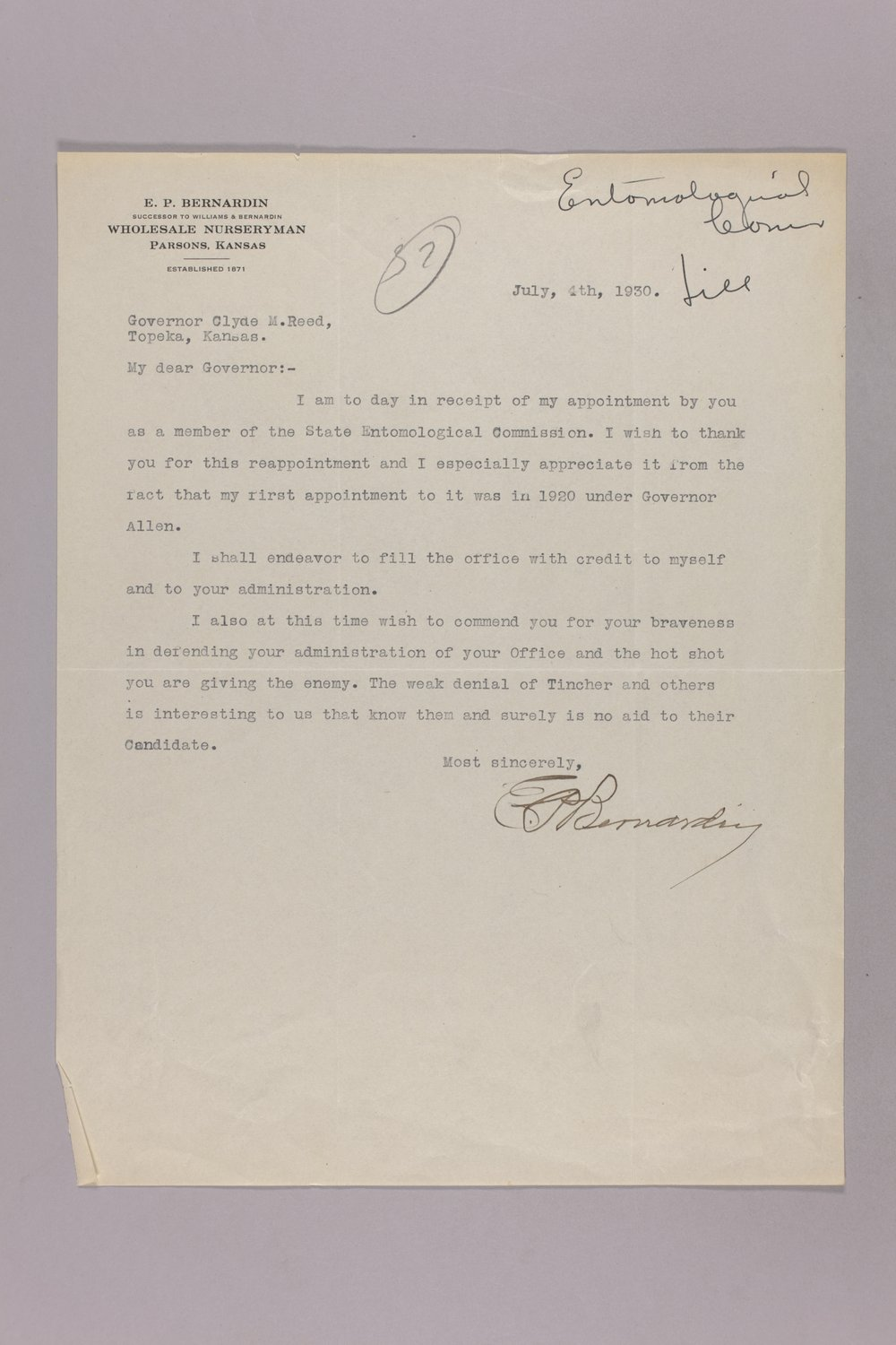 Governor Clyde M. Reed correspondence, Entomological Commission - 1