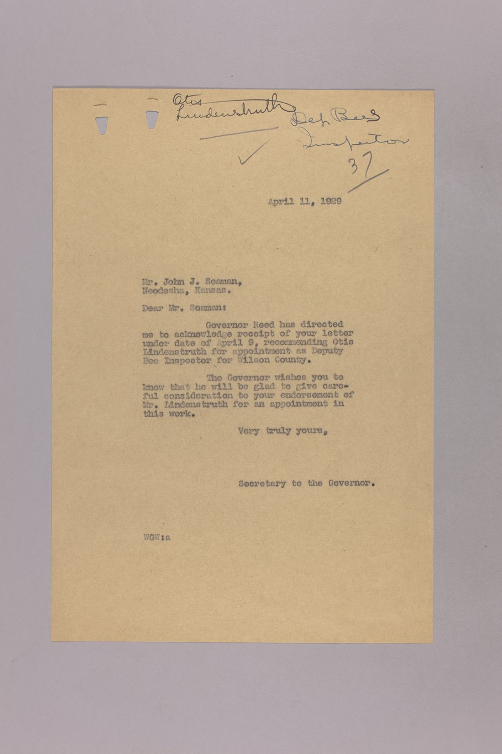 Governor Clyde M. Reed correspondence, Entomological Commission - 2