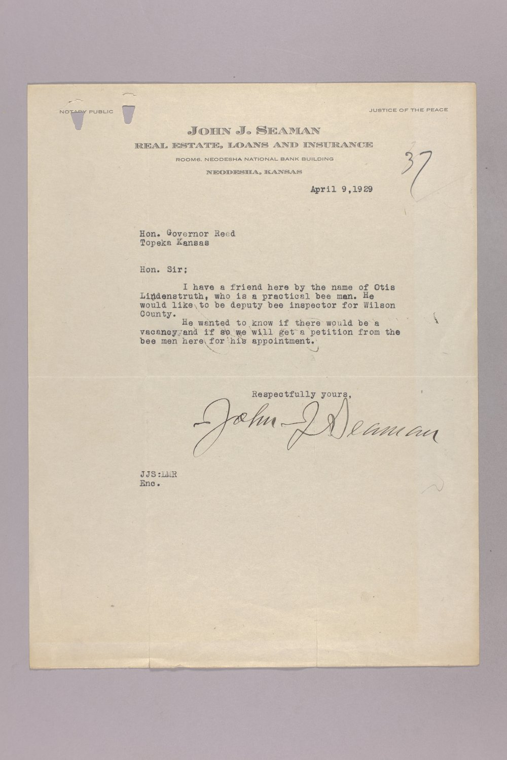 Governor Clyde M. Reed correspondence, Entomological Commission - 3