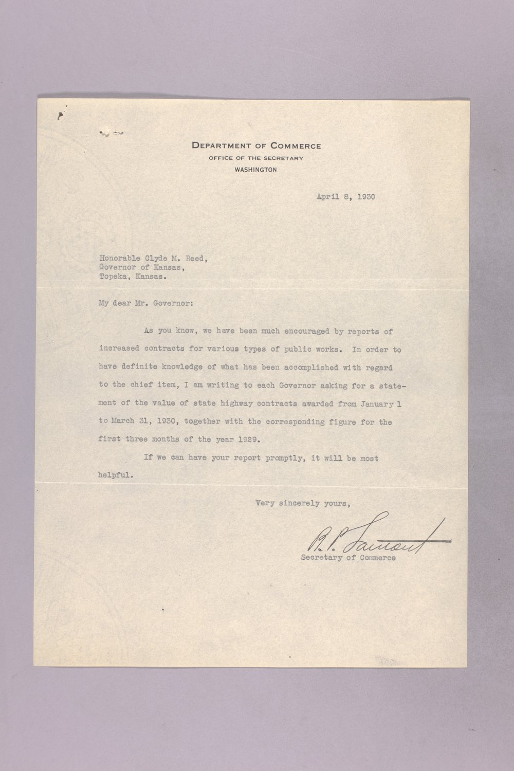 Governor Clyde M. Reed correspondence, Highway Department - 9