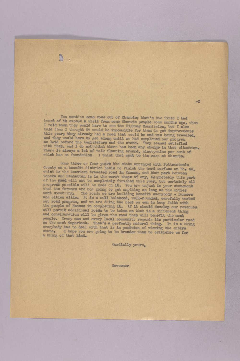 Governor Clyde M. Reed correspondence, Highway Department - 12