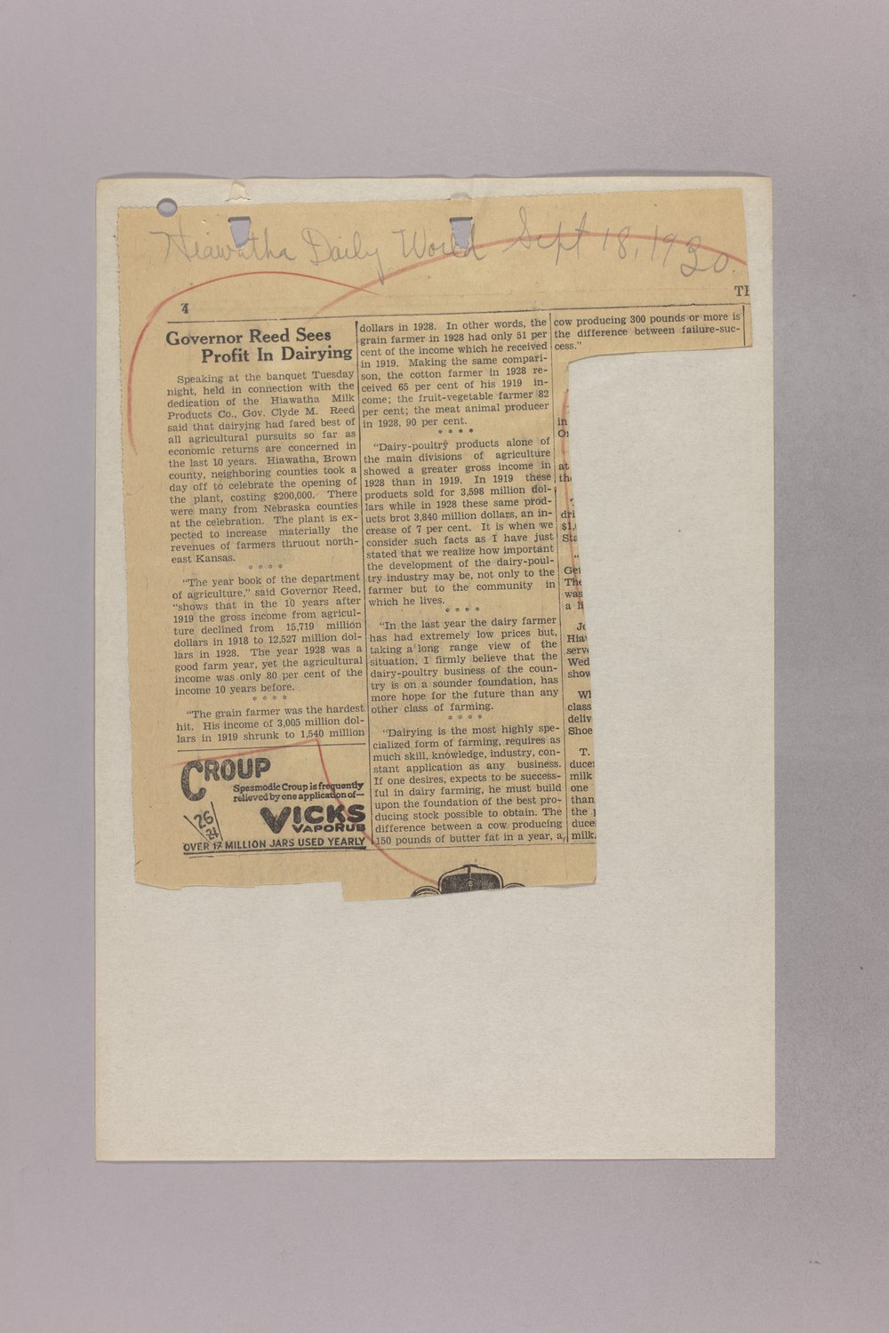 Governor Clyde M. Reed correspondence, Highway Department - 5