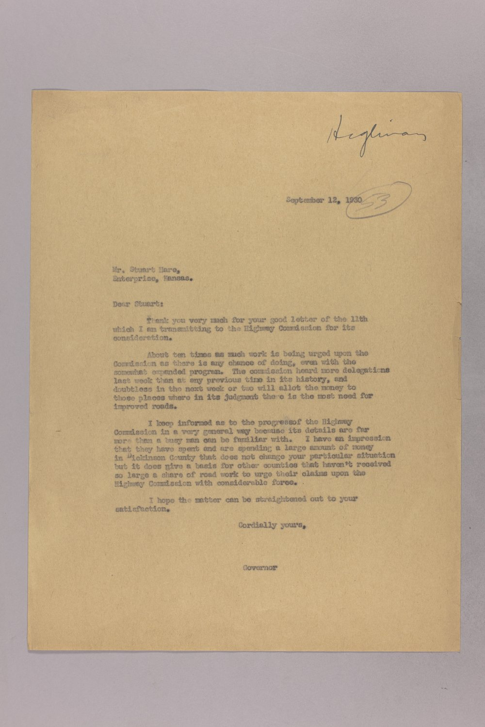 Governor Clyde M. Reed correspondence, Highway Department - 6