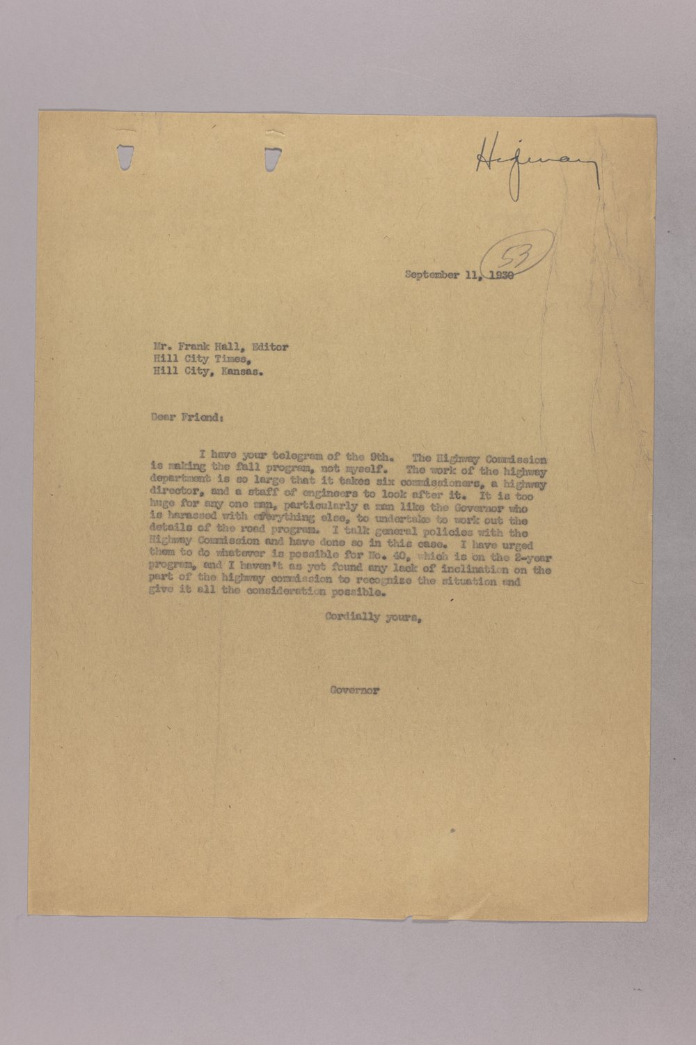 Governor Clyde M. Reed correspondence, Highway Department - 11