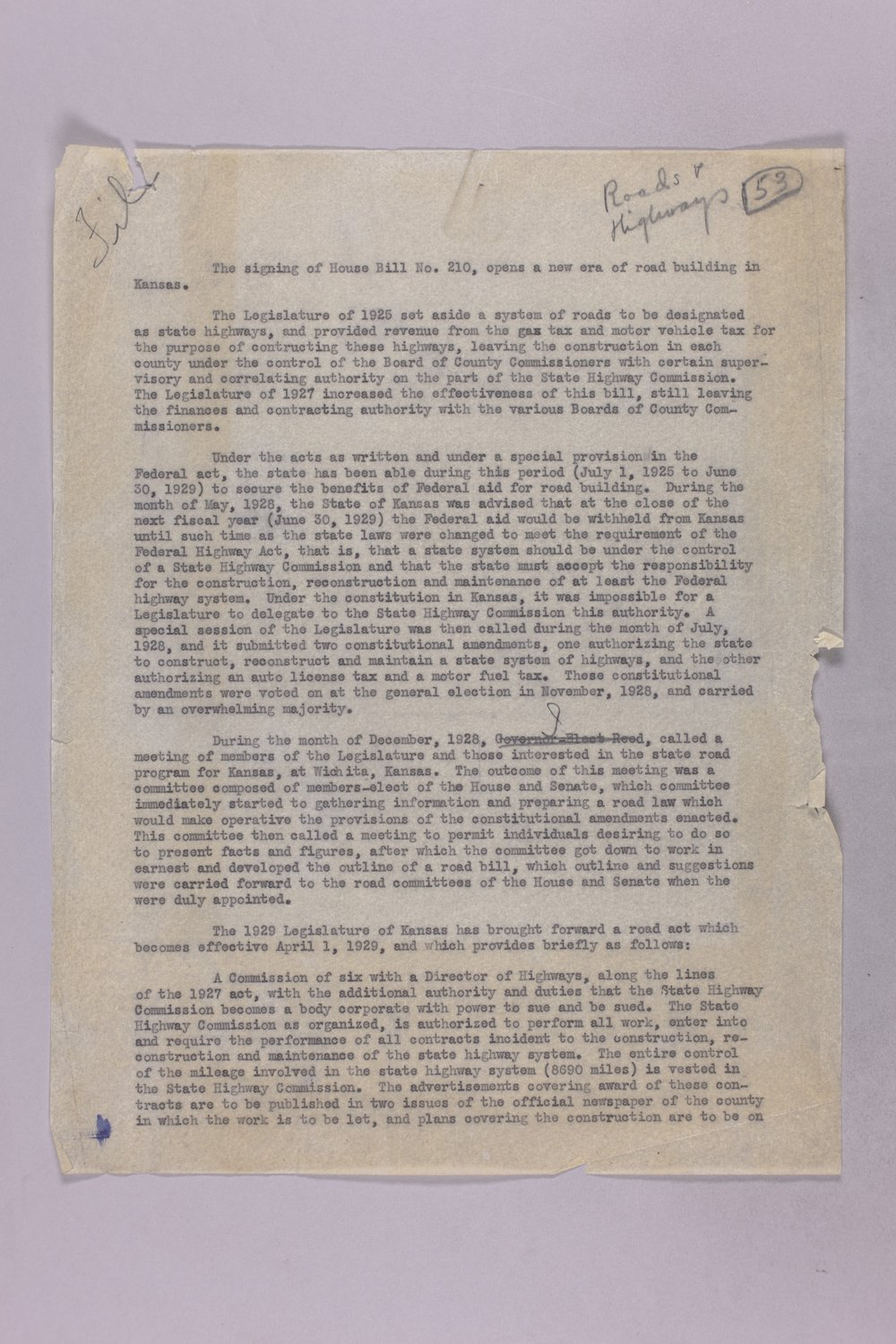Governor Clyde M. Reed correspondence, Highway Department - 1