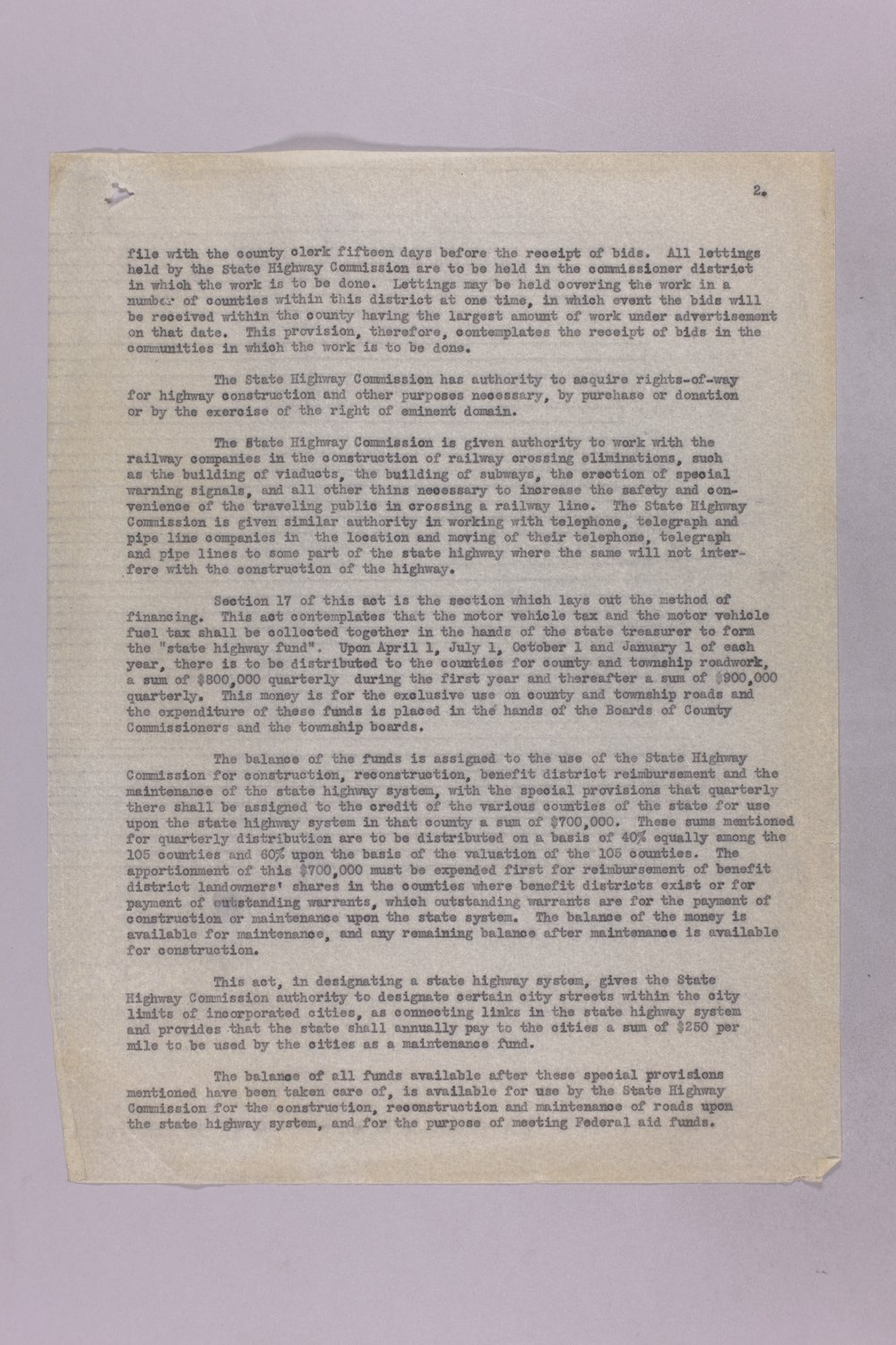 Governor Clyde M. Reed correspondence, Highway Department - 2