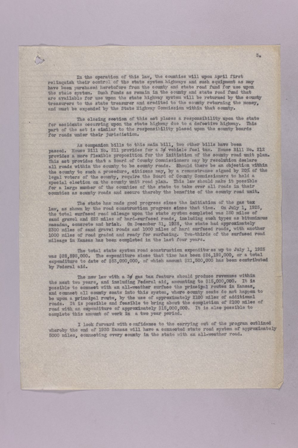 Governor Clyde M. Reed correspondence, Highway Department - 3