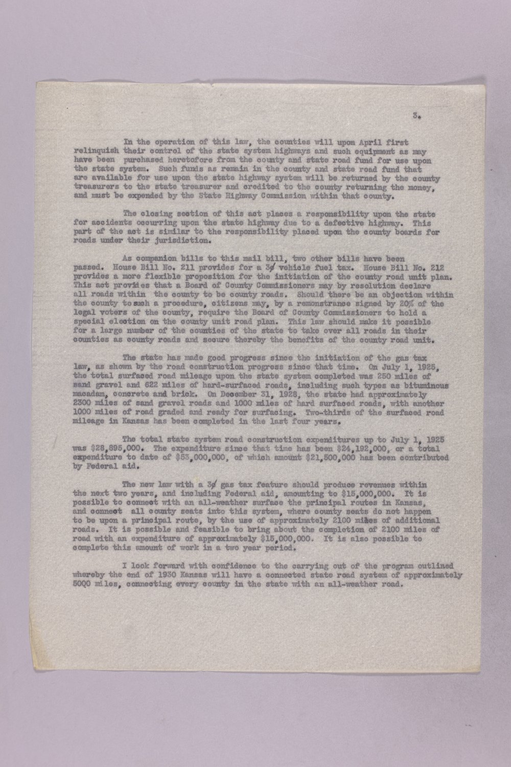 Governor Clyde M. Reed correspondence, Highway Department - 7