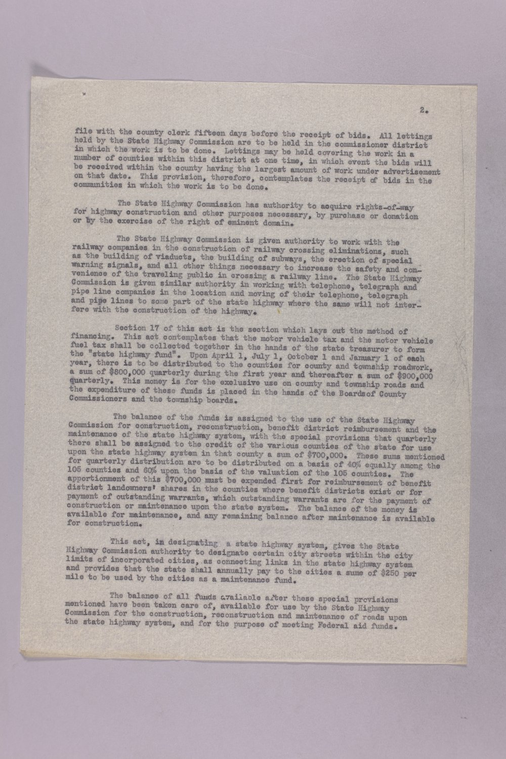 Governor Clyde M. Reed correspondence, Highway Department - 10