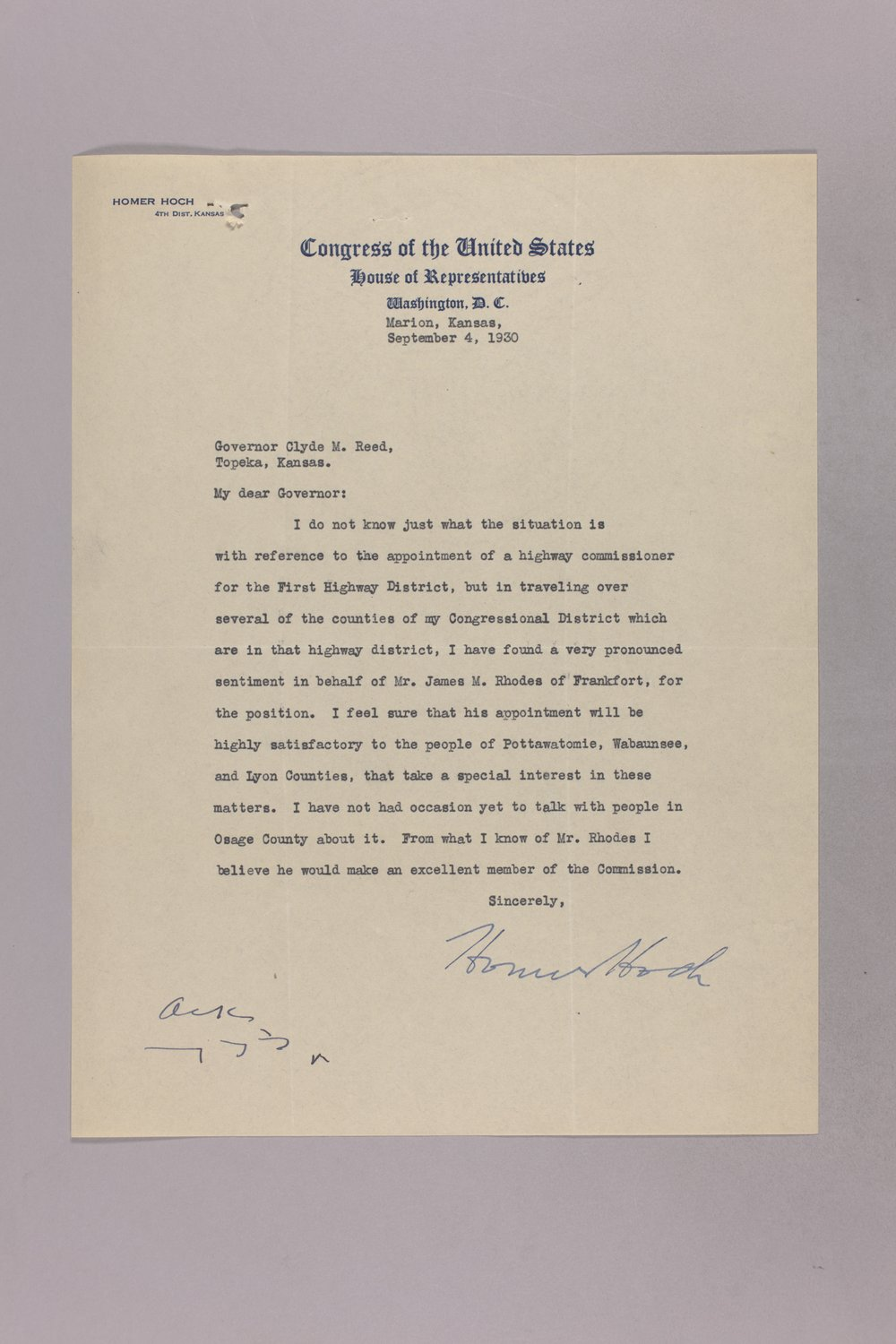 Governor Clyde M. Reed correspondence, commission appointments - 2