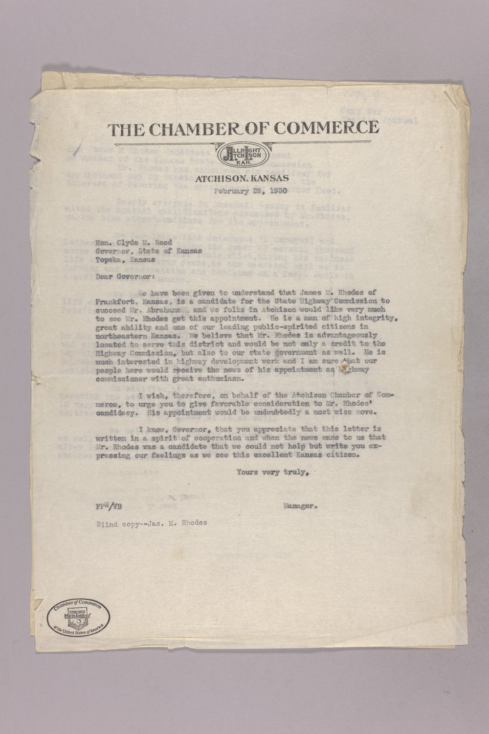Governor Clyde M. Reed correspondence, commission appointments - 3