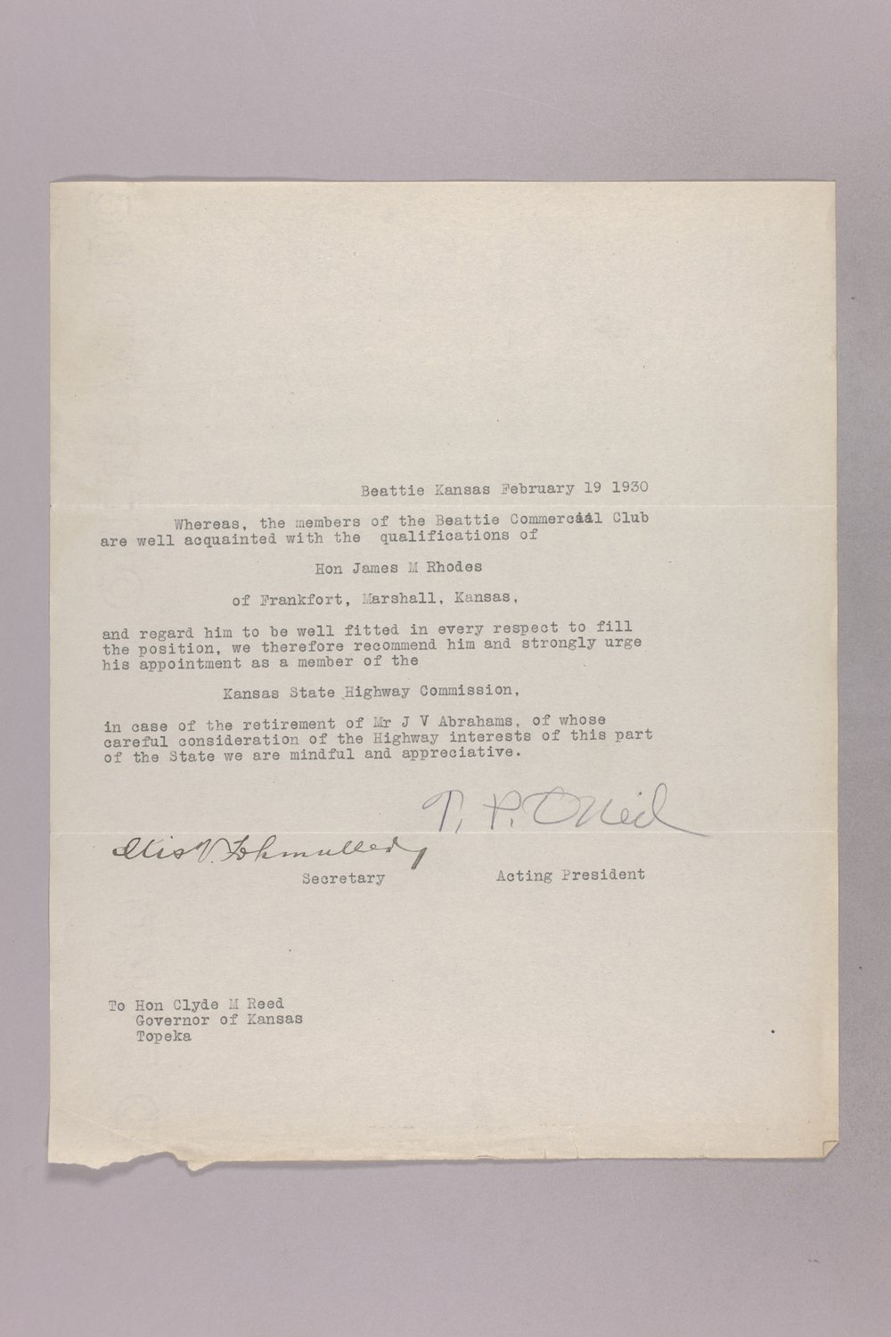 Governor Clyde M. Reed correspondence, commission appointments - 7