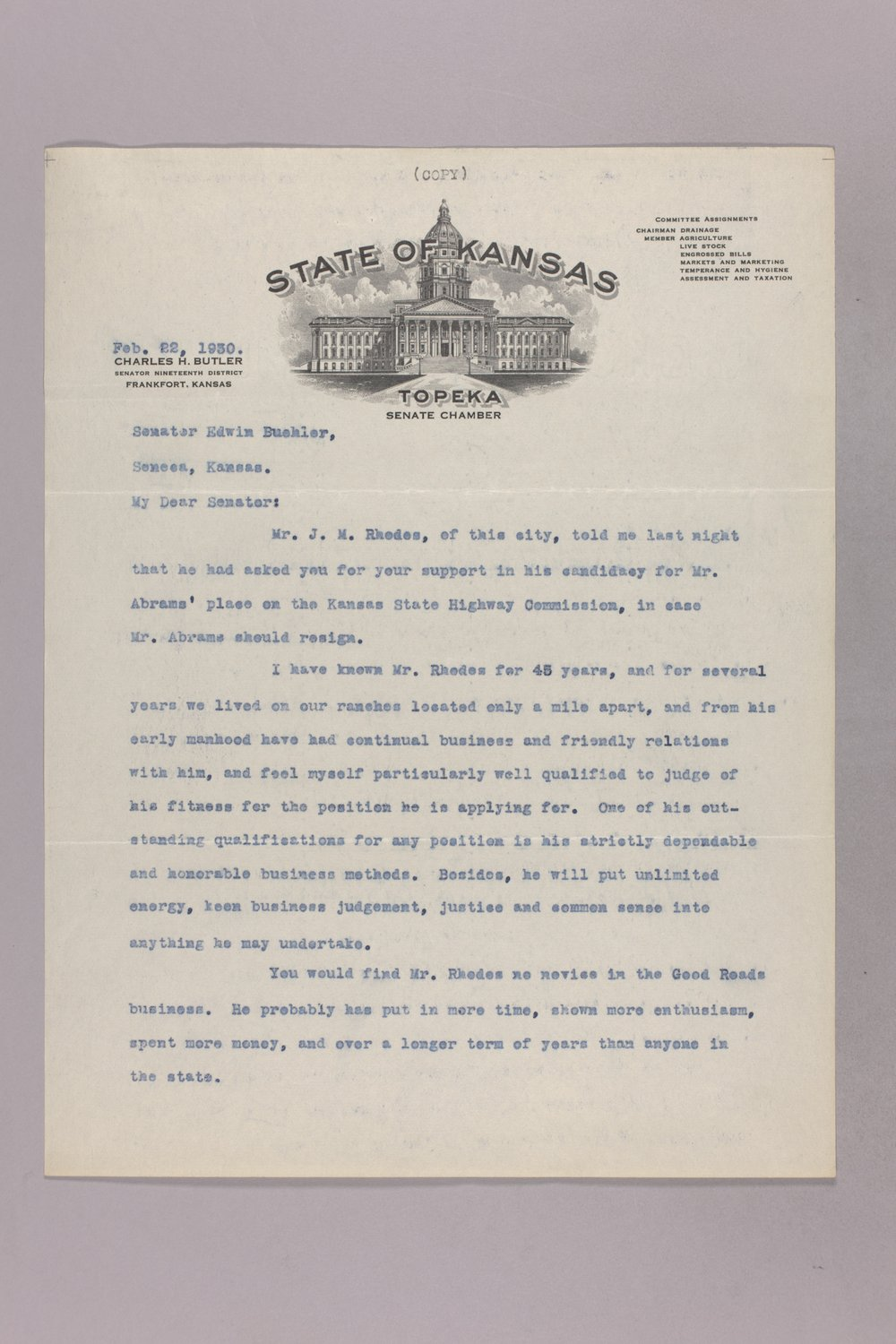 Governor Clyde M. Reed correspondence, commission appointments - 8